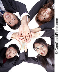 pessoas negócio, jovem, seu, asiático, mãos, associando
