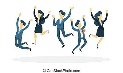 pessoas negócio, jumping.
