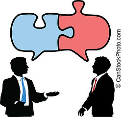 pessoas negócio, ligar, colabore, quebra-cabeça, conversa