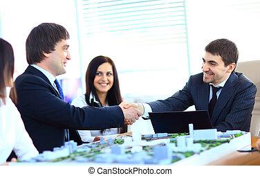 pessoas negócio, mãos, agitação, cima, acabamento, reunião