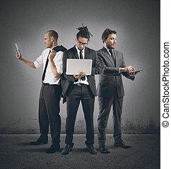 pessoas negócio, muito, ocupado