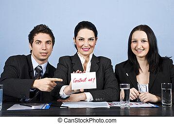 pessoas negócio, nós, contato, equipe, mensagem