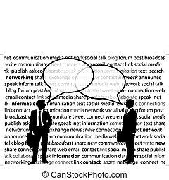 pessoas negócio, parte, social, rede, conversa, bolhas