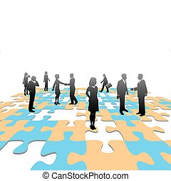 pessoas negócio, quebra-cabeça, jigsaw, solução, pedaços,...