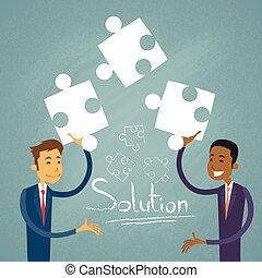 pessoas negócio, quebra-cabeça, solução, dois, resolva, homem negócios