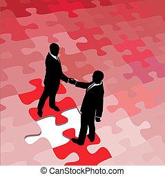 pessoas negócio, quebra-cabeça, solução, problema, concorde