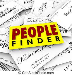 pessoas negócio, recuiter, empregar, trabalho, cartões, emprego, descobridor