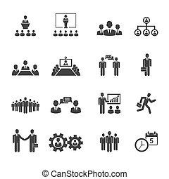 pessoas negócio, reuniões, e, conferências, ícones
