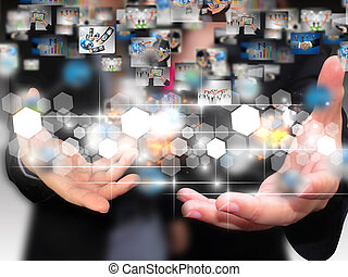 pessoas negócio, segurando, social, mídia