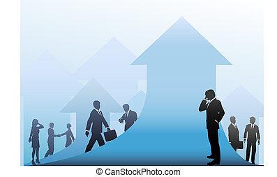 pessoas negócio, setas, cima, fundo, progresso
