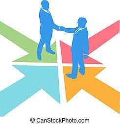 pessoas negócio, setas, encontre, negócio, acordo