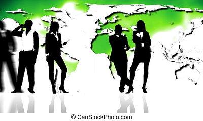 pessoas negócio, silhuetas, contra, mapa verde, mundo