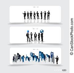 pessoas negócio, silhuetas, ligado, nota, papers., vetorial, illustration.
