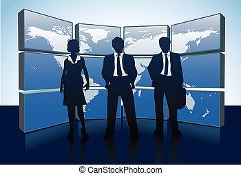 pessoas negócio, silhuetas, mapa mundial, monitores