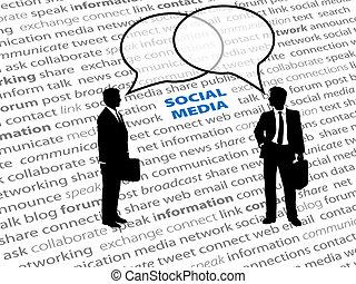 pessoas negócio, social, rede, texto, conversa, bolhas