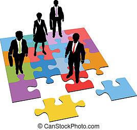 pessoas negócio, solução, gerência, recursos, quebra-cabeça