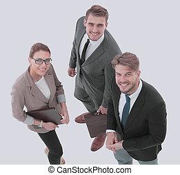 pessoas negócio, sucedido, olhar, confiante, feliz
