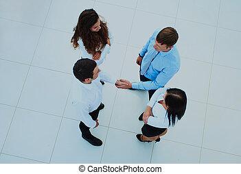 pessoas negócio, topo, agitação, hands., vista