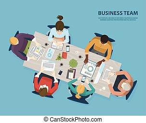 pessoas negócio, topo, equipe, reunião, vista