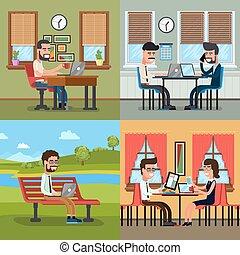 pessoas negócio, trabalhando, em, vário, local trabalho