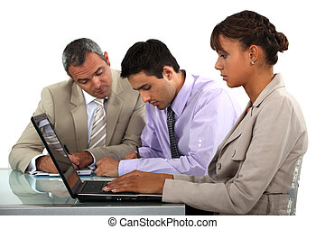 pessoas negócio, trabalhar, um, tabela