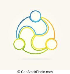 pessoas negócio, trabalho equipe, logotipo, cartão id