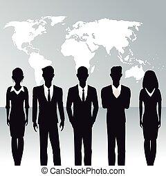 pessoas negócio, trabalho equipe, mapa mundial, fundo