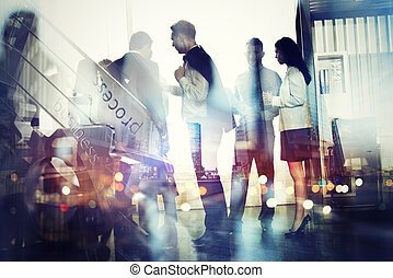 pessoas negócio, trabalho, junto, em, escritório., conceito, de, trabalho equipe, e, partnership., exposição dobro, com, modernos, cidade, e, luz, efeitos
