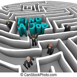 pessoas negócio, -, trabalho, labirinto, achar