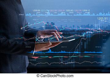 pessoas negócio, verificar, mercado conservado estoque, ligado, tabuleta, e, analisar, financeiro, dados, ligado, um, tela, com, gráfico, e, candlestick, mapa, ligado, conduzido, monitor, virtual, ligado, cidade, fundo