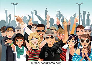 pessoas num, concerto