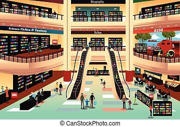 pessoas num, loja livro