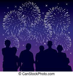 pessoas, observar, fogos artifício