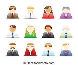 pessoas, (office, worker), ícones, jogo