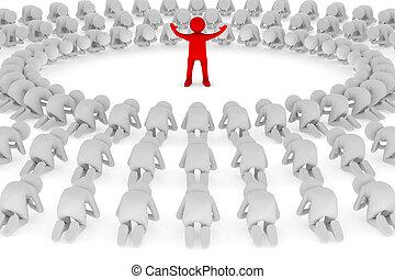 pessoas, orando, em, lap., isolado, 3d, imagem