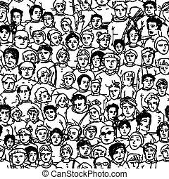 pessoas, padrão, seamless, unrecognizable., caráteres, ...