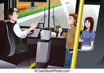 pessoas, pagar, para, autocarro, tarifa