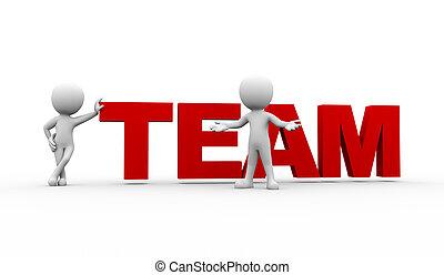 pessoas, palavra, 3d, equipe