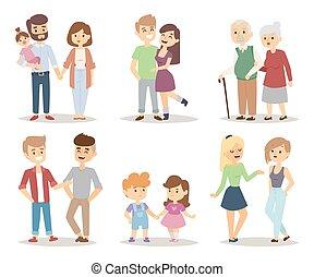 pessoas, par, ilustração, caricatura, vetorial, relaxado,...