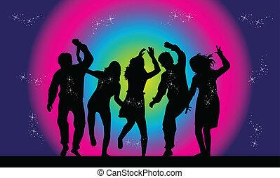 pessoas, partido, dançar