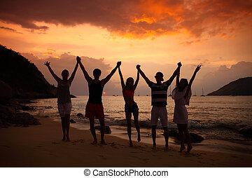 pessoas, partying, ligado, praia