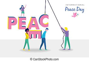 pessoas, paz, diverso, trabalho equipe, mundo, dia, cartão