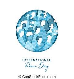 pessoas, paz, unidade, diverso, mundo, dia, cartão