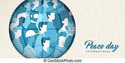 pessoas, paz, unidade, mundo, cutout, bandeira, dia