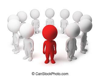 pessoas, -, pequeno, allocated, círculo, 3d