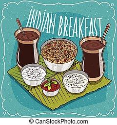 pessoas, pequeno almoço, indianas, dois, muesli
