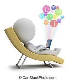 pessoas, -, pequeno, internet, serviços, 3d