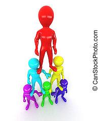 pessoas., piramide, liderança