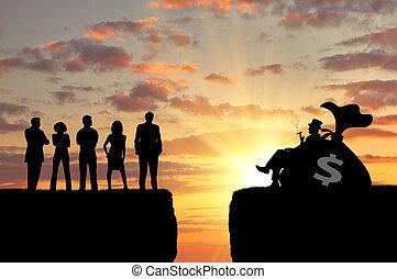 pessoas pobres, entre, desigualdade, ricos, social