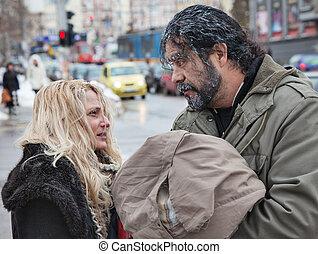 pessoas pobres, inverno, gelado